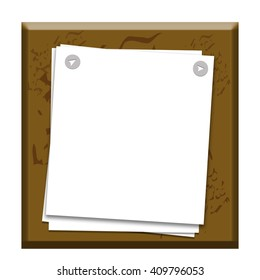 Sheets of paper attached to a brown square object buttons isolated on white background
