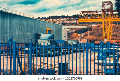 Sheffield, England - 13th October, 2018: A warehouse for steel tubes with a flatbed parked outside