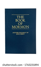 Sheffield, England - June 21 2020: The Book of Mormon, Another Testament of Jesus Christ, isolated against a white background.