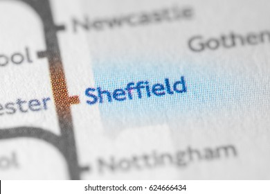 Sheffield, England, UK on a geographical map.