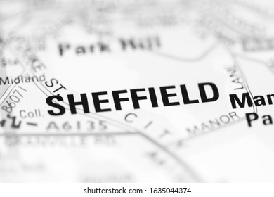 Sheffield on a geographical map of UK