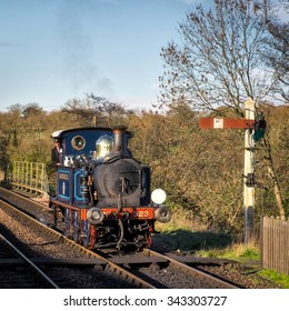 SHEFFIELD PARK, EAST SUSSEX/UK - NOVEMBER 22 : Bluebell approaching Sheffield Park Station East Sussex on November 22, 2015. Unidentified person.