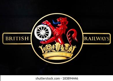 SHEFFIELD PARK, EAST SUSSEX/UK - SEPTEMBER 8 : British Railways logo on an old steam train at Sheffield Park station East Sussex on September 8, 2013