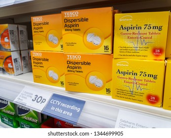 SHEFFIELD, UK - 20TH MARCH 2019: Tesco own brand Dispersible asprin tablets