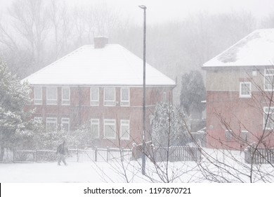 Sheffield, UK – 28 Feb 2018: White out in suburbia as The Beast from the East grips Sheffield in freezing Winter snow on 28 Feb at Hastilar Road South