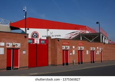 Sheffield / UK - April 20, 2019: Sheffield United Football Club, Bramall Lane detail under clear blue sky
