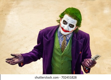 SHEFFIELD, UK - AUGUST 12, 2017. A cosplayer dressed as The Joker from the Batman The Dark Night movie at a comic con event in Sheffield, UK.