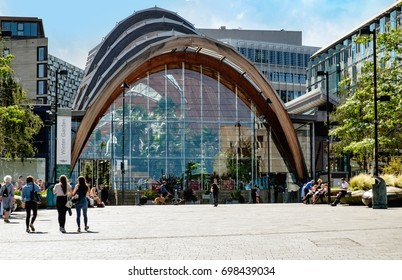 Sheffield, UK, August 17th 2017. Sheffield Winter Garden from Tudor Square. The Winter Garden is the focus of the city center public spaces.