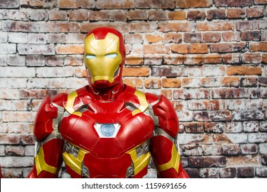 SHEFFIELD, UK - AUGUST 18, 2018. A male cosplayer dressed as the Marvel comics character Iron Man at a comic con event