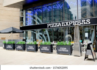 SHEFFIELD, UK - AUGUST 9, 2018: Pizza Express restaurant exterior. Pizza Express opened their first restaurant in London in 1965.