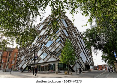 SHEFFIELD, UK - AUGUST 9, 2018: The iconic Sheffield University diamond building, designed by `Twelve Architects` to house engineering students.