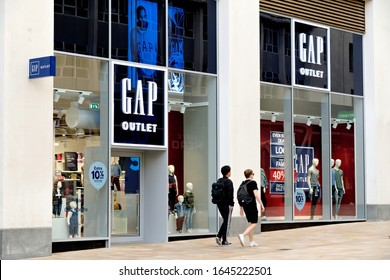SHEFFIELD, UK - AUGUST 9, 2018: The frontage of Gap clothes store on High Street in Sheffield.
