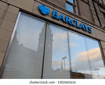 SHEFFIELD, UK - FEBRUARY 02 2019: Signage and front window of Barclays Bank, which recently move £166 billion of assets to Dublin, citing the reason as Brexit. Sheffield, UK