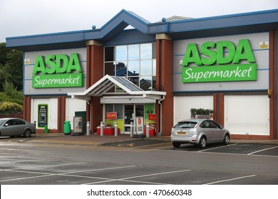 SHEFFIELD, UK - JULY 10, 2016: ASDA Supermarket in Sheffield, Yorkshire, UK. Retail sales generate 5 percent of UK GDP, amounting to 339 billion GBP annually.
