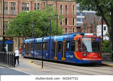 SHEFFIELD, UK - JULY 10, 2016: People ride Stagecoach Supertram in Sheffield, Yorkshire, UK. Sheffield Supertram served 11.6 million annual rides in 2015/16.