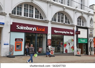 SHEFFIELD, UK - JULY 10, 2016: Sainsbury's Local grocery store in Sheffield, Yorkshire, UK. Retail sales generate 5 percent of UK GDP, amounting to 339 billion GBP annually.