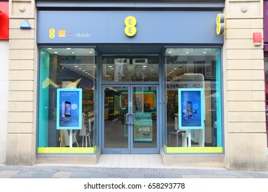 SHEFFIELD, UK - JULY 10, 2016: EE mobile phone shop in Sheffield, UK. There are 89.9 million mobile phone subscribers in the UK.