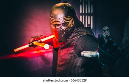 Sheffield, UK - June 03, 2017: Cosplayer dressed as 'Kylo Ren' from the Star Wars series at the Yorkshire Cosplay Con at Sheffield Arena.