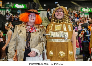 Sheffield, Uk - June 03, 2017: Cosplayers dressed as a 'Dalek' from Doctor Who and the Mad Hatter from Alice in Wonderland at the Yorkshire Cosplay Convention at Sheffield Arena.