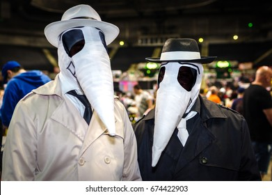 Sheffield, Uk - June 03, 2017: Cosplayers dressed as Black Spy and White Spy from 'Spy vs Spy' in Mad Magazine at the Yorkshire Cosplay Con in Sheffield.