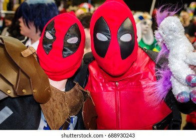 Sheffield, UK - June 03, 2017: Cosplay as the Marvel film and comic book character 'Deadpool' at the Yorkshire Cosplay Con at Sheffield Arena.