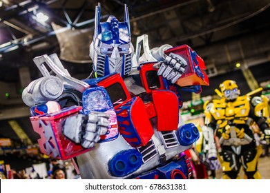 Sheffield, UK - June 04, 2017: Cosplayer dressed as 'Optimus Prime' from Transformers at the Yorkshire Cosplay Con at Sheffield Arena.
