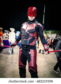 Sheffield, UK - June 04, 2017: Cosplayer dressed as the character 'Daredevil from Marvel Comics at the Yorkshire Cosplay Convention at Sheffield Arena.