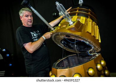 Sheffield, UK - June 11, 2016: Inside of the 'model of a dalek' from 'Doctor Who' at the Yorkshire Cosplay Convention at Sheffield Arena
