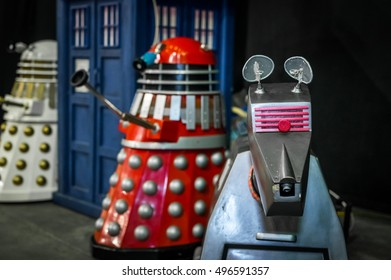 Sheffield, UK - June 11, 2016: Models of the 'dalek' and 'K-9' characters from 'Doctor Who' at the Yorkshire Cosplay Convention at Sheffield Arena