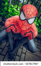 Sheffield, UK - June 11, 2016: Cosplayer dressed as 'Spiderman' from the Marvel Series at the Yorkshire Cosplay Convention at Sheffield Arena