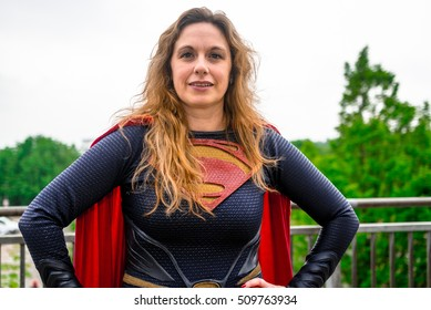 Sheffield, UK - June 11, 2016: Female cosplayer dressed as 'Supergirl' from DC Comics at the Yorkshire Cosplay Convention at Sheffield Arena