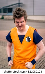 Sheffield, UK - June 12, 2016: Cosplayer dressed as 'Goku' from 'Dragonball Z' at the Yorkshire Cosplay Convention at Sheffield Arena