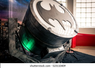 Sheffield, UK - June 12, 2016:  Replica of the 'bat-signal' device from 'Batman' at the Yorkshire Cosplay Convention at Sheffield Arena