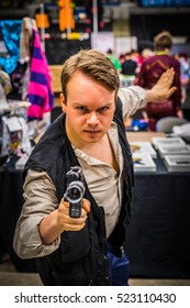 Sheffield, UK - June 12, 2016: Cosplayer dressed as 'Han Solo' from 'Star Wars' at the Yorkshire Cosplay Convention at Sheffield Arena
