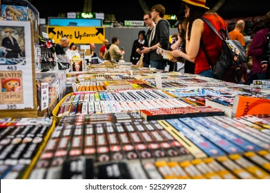 Sheffield, UK - June 12, 2016: Visitors browse a stall selling manga (comic books) at the Yorkshire Cosplay Convention at Sheffield Arena