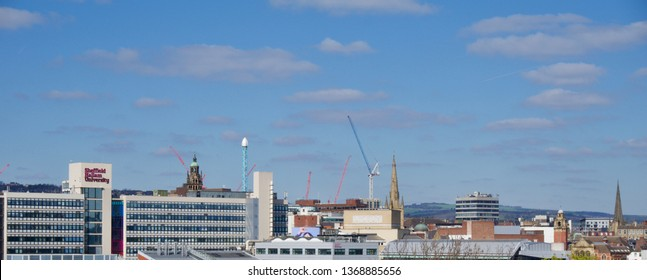 Sheffield / UK - March 31 2019: View of Sheffield city centre from Park Hill on a sunny day