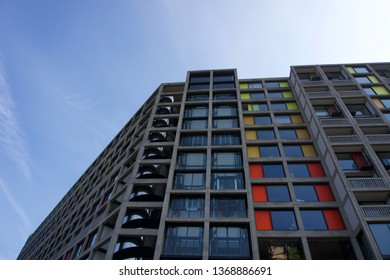 Sheffield / UK - March 31 2019: Low angle view of refurbished buildings at Park Hill