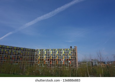 Sheffield / UK - March 31 2019: Refurbished buildings at Park Hill