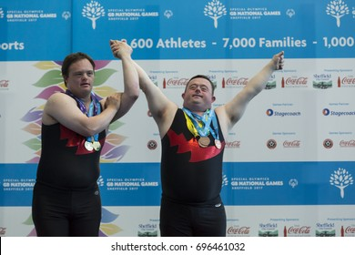 Sheffield, United Kingdom, August 10, 2017: UK Special Olympics. Athletes with learning disabilities from various regions of Great Britain compete for medals in gymnastics.