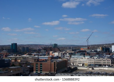 Sheffield / United Kingdom - March 19 2019: View across Sheffield city centre