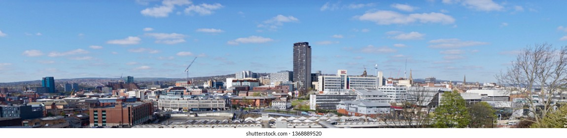 Sheffield / United Kingdom - March 19 2019: Panorama of Sheffield City Centre