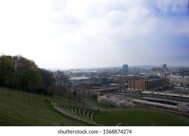 Sheffield / United Kingdom - March 31 2019: View of Sheffield City from over Railway Station