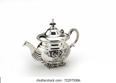 Sheffild chiselled teapot isolated on white background