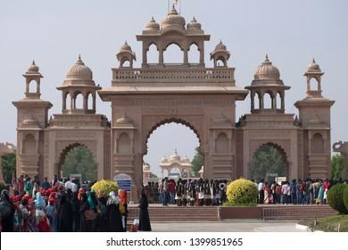 SHEGAON, BULDANA DISTRICT, MAHARASHTRA, INDIA, December 2017, Tourist at Anand Sagar entry gate.
