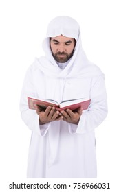 Sheikh recites Holy Qur'an isolated on white background.