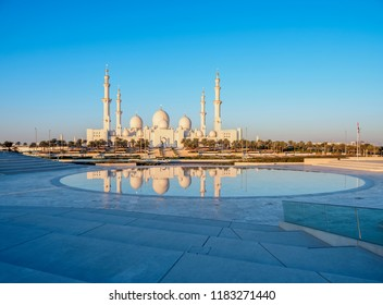 Sheikh Zayed bin Sultan Al Nahyan Grand Mosque at sunrise, Abu Dhabi, United Arab Emirates