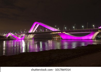 The Sheikh Zayed bridge in Abu Dhabi. Its curved design arches evoke undulating sand dunes of the desert. It also has a colorful subtle changing lighting design.