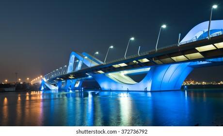 Sheikh Zayed Bridge at night, Abu Dhabi, United Arab Emirates