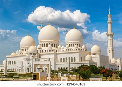 Sheikh Zayed Grand Mosque in Abu Dhabi in a summer day, United Arab Emirates
