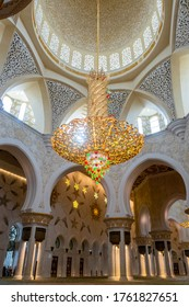 The Sheikh Zayed Grand Mosque in Abu Dhabi, United Arab Emirates,08/02/20.Masterpiece of arabic art. The largest chandelier made of millions of Swarovski crystals, richly decorated with gold and gems.